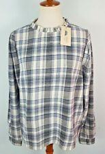 Women's Plaid Long Sleeve Flannel Blouse - Universal Thread; Blue  - Size M, L