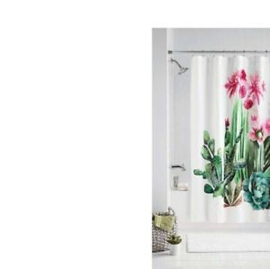 Blooming Cactus Flowers, succulent & leaves Watercolor Fabric Shower Curtain