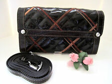 "Brighton ""SQUARESVILLE"" Chocolate Patent/Croc Leather Wallet/Clutch (MR$140) NWT"
