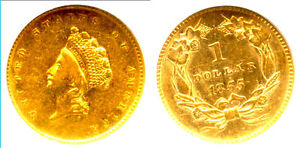 1855 G$1 AU55 NGC-TYPE 2 GOLD DOLLAR