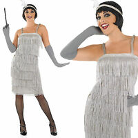 Ladies Silver Flapper Fancy Dress Costume 20S Charleston Gatsby Outfit UK 8-30