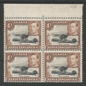 KUT SG145b THE 1949 GVI 1/- BLACK & BROWN IN FRESH MNH MARGINAL BLOCK OF 4 C£88+