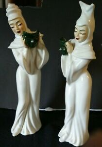 VINTAGE MADISON CERAMIC ARTS STUDIO COMEDY AND TRAGEDY WITH MASK WHITE FIGURINES
