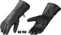 Genuine Cowhide Leather Gauntlet Gloves  Motorcycle Motorbike Gloves