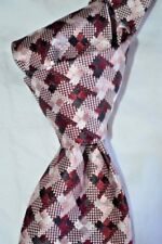 "$250 NWT TOM FORD Burgundy Pink Houndstooth check 3.25"" woven Silk tie ITALY"