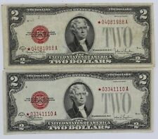 "2x $2.00 US Note ""Red Seal"" Star Note Series 1928-F+G Fine & Very Fine Condition"