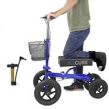 AllCure Quad Wheel All Terrain Foldable Medical Steerable Knee Walker Scooter