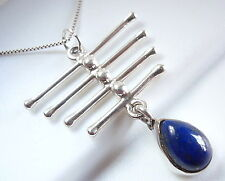 Lapis 925 Sterling Silver Teardrop Necklace with Four-Bar Accents New