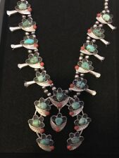 Native American Turquoise And Coral Squash Blossom Necklace