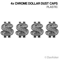 4x Chrome Dollar Sign Car Bike Motorcycle BMX Wheel Tyre Valve Plastic Dust Caps