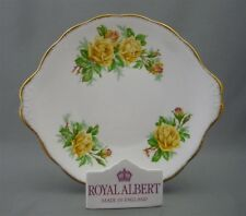 Royal Albert England Yellow Tea Rose Pattern Bone China Round Handled Cake Plate