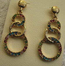 Rainbow Earrings New Rings of Rhinestone on Gold Tone Metal Dangle Post Backs