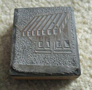 Vintage Wood Metal Letterpress Print Block Stamp Awning Over Windows