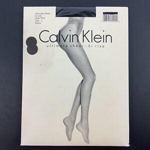 Calvin Klein Pantyhose Size C Black Ultimate Sheer Hi-Rise Panty Vtg 90s