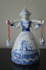 Blue Handpainted DUTCH GIRL Milk Maiden Woman Figurine Yoke Bucket Pail