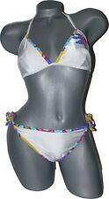 NWT GOTTEX bikini 12 swimsuit white bright flower sassy sheen Israel 2PC