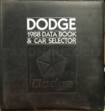 1988 Dodge Data Book Dealer Album Dynasty Daytona Lancer Shadow 600 Colt Omni