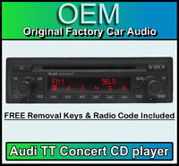 Audi TT CD player, Audi Concert car stereo head unit Supplied with radio code