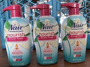 Lot -3- Nair Shower Power Hair Remover Cream WITH SPONGE'S Argan Oil Men & Women