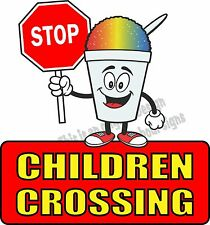 "Stop Children Crossing Vinyl Decal 24"" Concession Ice Cream Food Truck Cart"