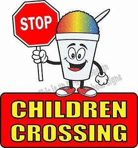 "Stop Children Crossing Vinyl Decal 24"" Concession Ice Cream Food Truck Cart"