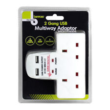 Mains 2 Gang USB Ports Multiway Adaptor Surge Protection Extension Plug Socket