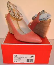 Coach Ollie Buffed Leather/snake Print Cerise Pink Wedge Ankle Strap 8