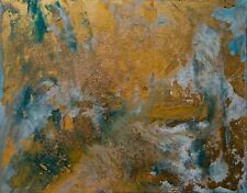 Modern Original Painting Gold Leaf light Blue Turquoise Waters Glitter Anya