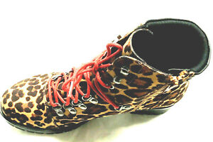 SO Creek  Women's Hiking Boots Size 7.5 M Leopard Print Red Laces