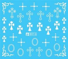 Nail Art Stickers Water Decals Transfers White Mono Design Crosses (B016)