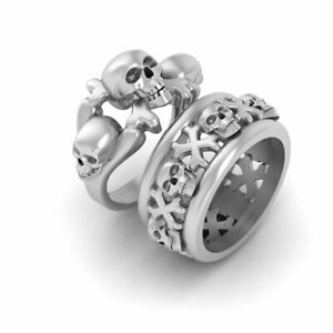 His and Her Matching Skull and Crossbones Wedding Ring Band Set Solid 925 Silver