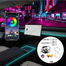 For 2021 Tesla Model 3 Y Inner RGB LED Strip Ambient Lights Center Console Lamps