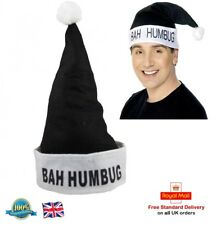 BAH HUMBUG Novelty Black Santa Clause Hat Christmas Office Party Festive Costume