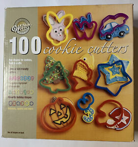 Wilton 100 Cookie plastic Cutters In Box 2010 Holiday Halloween Incomplete