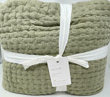 Pottery Barn Pickstitch Pick-Stitch Handcrafted Cotton Linen Quilt~King~Loden
