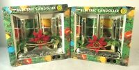 Vtg ACLA Electric  Plastic Christmas Candolier Poinsettia Window Decor Set Lot 2