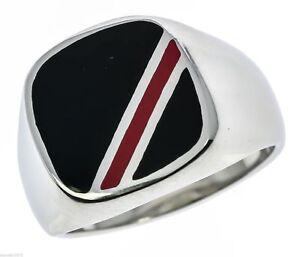 Black Onyx Red Stripe Agate Stainless Steel Men's Ring Size 13 TK602 T44