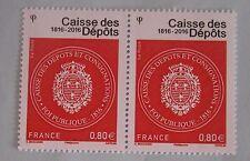 France 2016 Neuf ** Caisse des dépôts lot de 2 timbres à 0.80 € n° 5045
