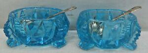 Vintage Pair Aqua Blue Cut Glass Salt Cellars Kirk Son 925 Sterling Silver Spoon