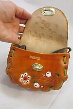 Women's mini hand tooled cross body leather purse made in mexico NWOT