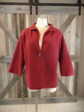EILEEN FISHER Red Wool/Cashmere 3/4 Sleeve Button Front Cardigan Sweater S