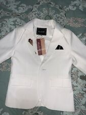 Boy Suit 3 Pc White Cotton Fitted Skinny Pants 5 t 100 Cm Boy Hight NWT
