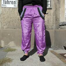 SPORTHOSE 90er TRUE VINTAGE 90s shiny Hose mens trouser pants lila sportspants L