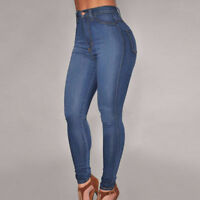 Womens Navy Blue Stretch Trousers Ladies High Waist Denim Pants Fitness Jeans