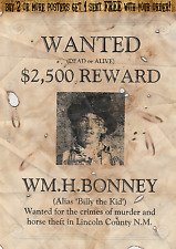 OLD WEST WANTED POSTERS OUTLAW WESTERN ROBBER BANK GARRETT KID COWBOY BILLY