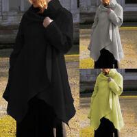 ZANZEA Women Long Sleeve High Neck Casual Asymmetrical Jacket Coat Cardigan Tops