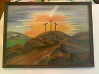 Vintage Three Crosses Of Calvary Oil Painting Artist Signed In Wood Frame