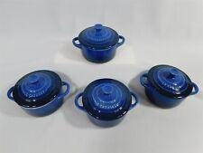 New listing Le Creuset Lapis Blue Mini Round Cocotte Stoneware Set of 4 Nwt