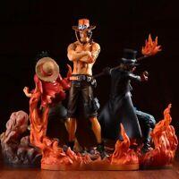 Anime One Piece 3PCS Action Figures Set Monkey D Luffy Portgas D Ace Sabo Models