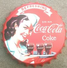 50 x 25 cm Large Embossed Metal  Sign Coca Cola Drink Red Label